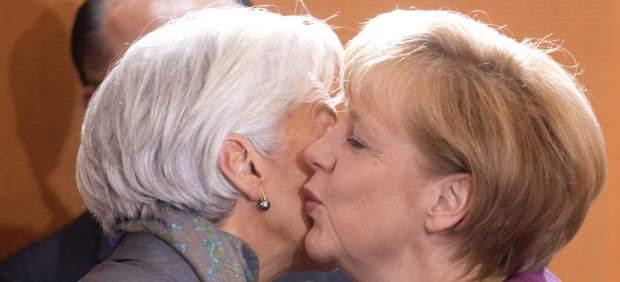 Merkel y Lagarde analizan la crisis del euro