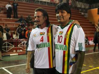 Evo Morales y Sean Penn