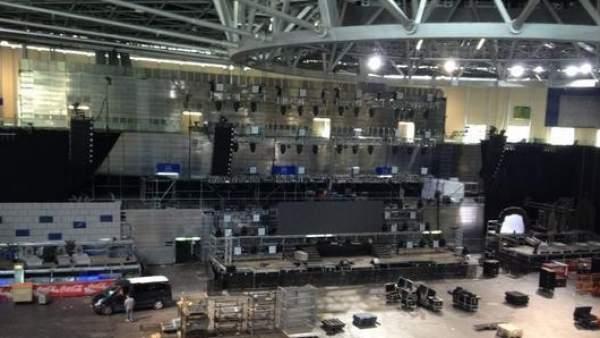 Los preparativos de la Thriller Music Park, en el Madrid Arena