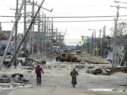 Una calle de Nueva Jersey tras el paso de 'Sandy'