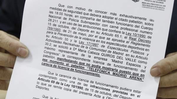 Acta de la Policía sobre el Madrid Arena en 2006
