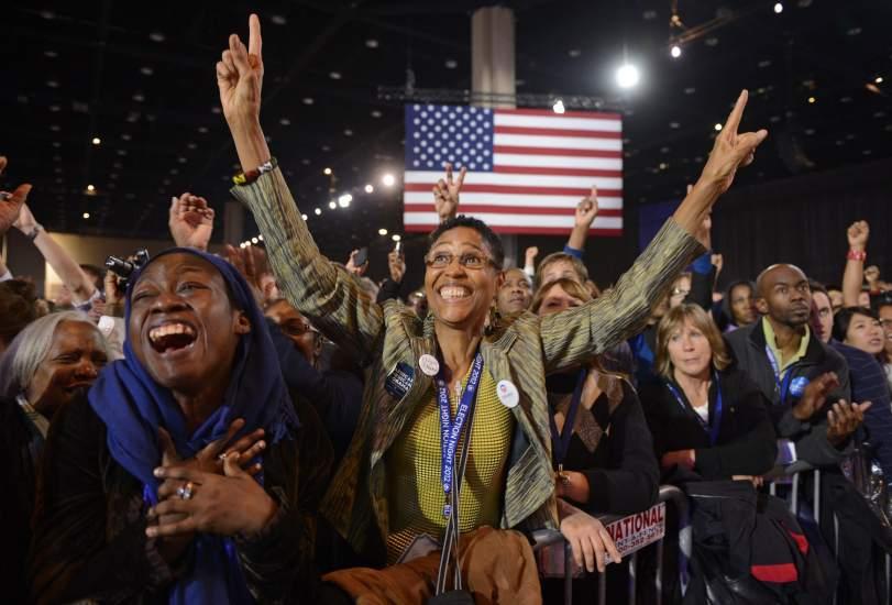 Alegr�a por la reelecci�n de Obama