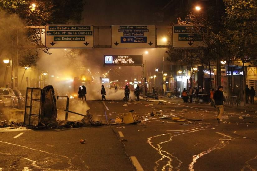 Disturbios en Atocha tras la marcha del 14-N
