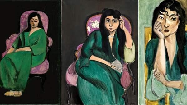 'Laurette in a Green Robe, Black Background' - 'Laurette Seated on a Pink Armchair'- 'Meditation (Portrait of Laurette)'