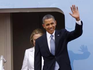 Barack Obama, llegando a Rangún.