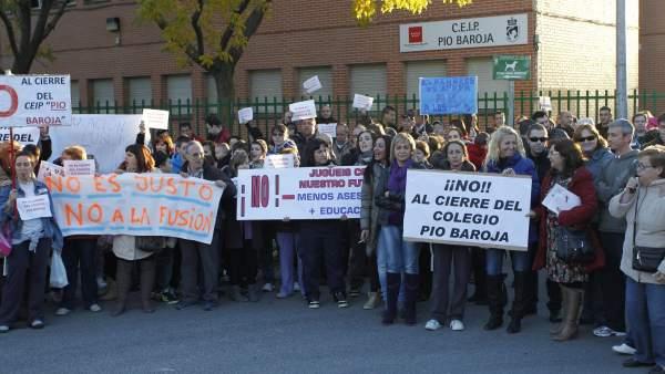 Protesta por el cierre de colegios