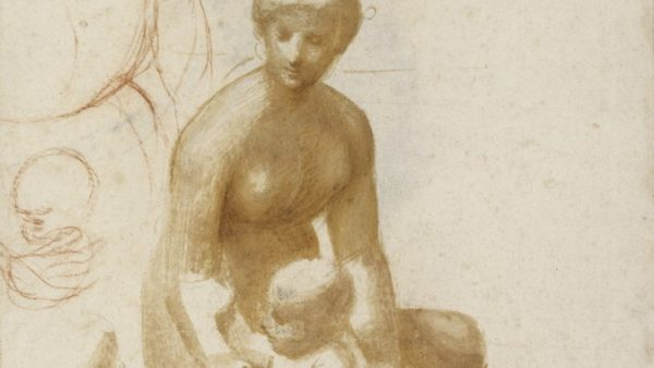 """'The Virgin and Child with the Infant Saint John (Study for the """"Madonna of the Meadow""""), c. 1505/1506'"""