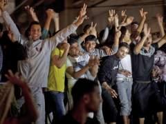 Palestinos celebrando el alto el fuego en la Franja de Gaza