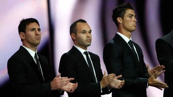 Messi, Cristiano Ronaldo e Iniesta
