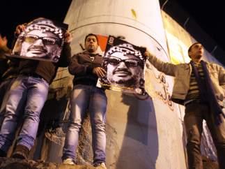 Celebración con una foto de Arafat