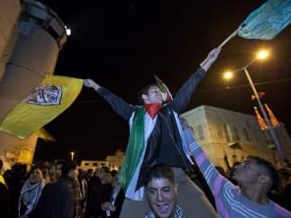 Palestinos celebran el reconocimiento de la ONU