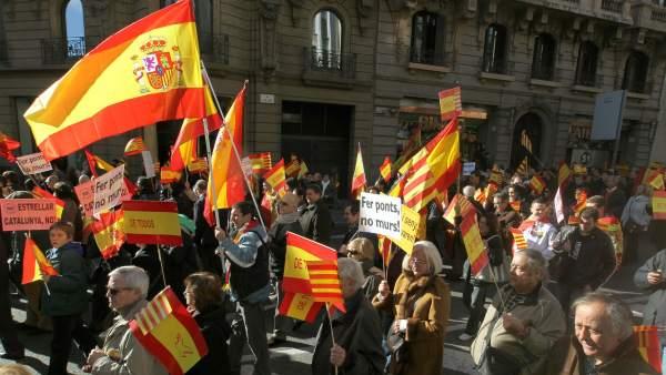Marcha españolista en Barcelona