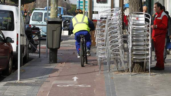 Carril bici en García Noblejas