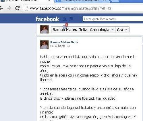 Captura de pantalla del perfil de Facebook del ya exedil que contiene los chistes xenófobos y racistas. (EP)