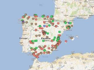 Mapa de premios de la Lotería de Navidad 2012
