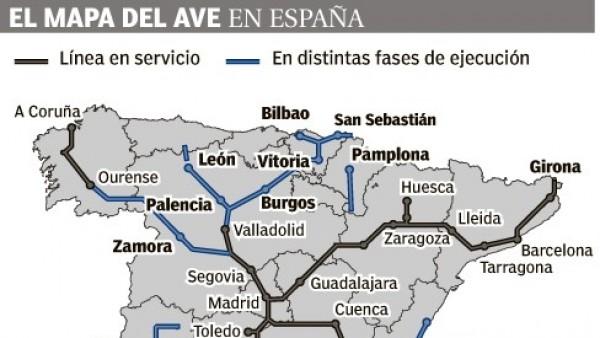 Mapa Ave España 2019.Mapa Del Ave En Espana Mapa