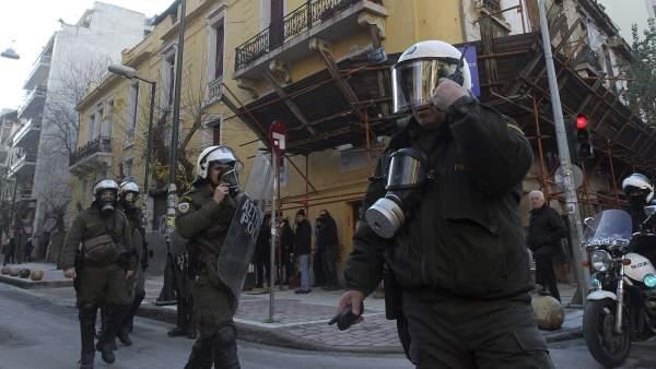 Desalojo en Atenas