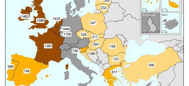 Mapa de los salarios m�nimos en Europa, 2011