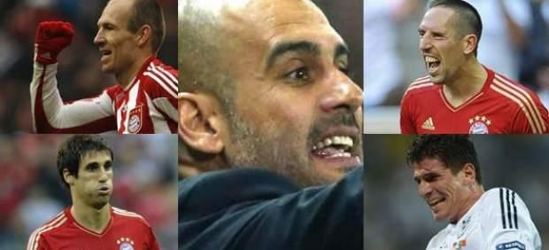 Guardiola y jugadores del Bayern