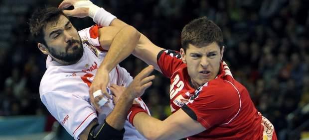 Maqueda en el Espa�a - Serbia balonmano