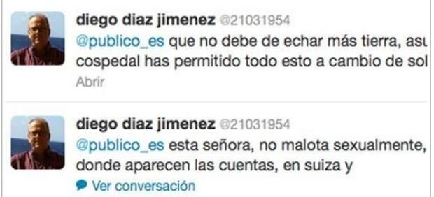 Tuits de Diego Díaz, edil de IU en Manilva (Málaga) sobre Dolores de Cospedal