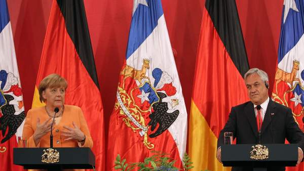 Sebastián Piñera y Angela Merkel