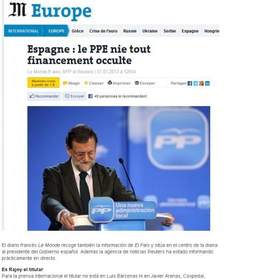 Rajoy, en el centro de la diana. El diario francésLe Monderecoge también la información deEl Paísy sitúa en el centro de la diana al presidente del Gobierno español.