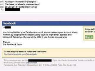 Correos falsos que usan Facebook