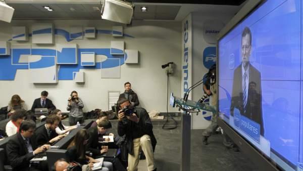 Rajoy, desde un monitor