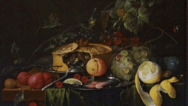 'Bodegón con frutas y empanada'