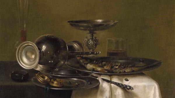 'Bodegón con jarra de plata, reloj y arenques'