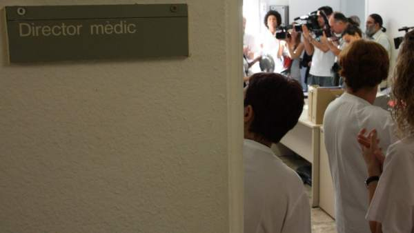 Un acto con la prensa en un hospital de Tarragona.