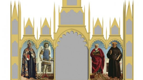 'Hypothetical reconstruction of Piero's altarpiece for the Church of Sant' Agostino'
