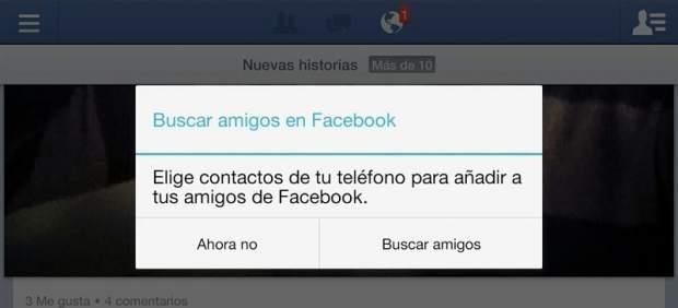 El acoso de Facebook para agregar contactos es un fallo de la aplicación móvil