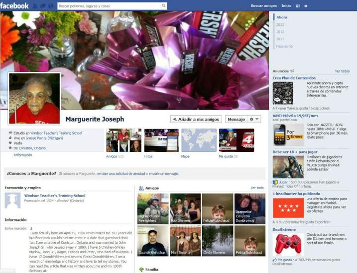 Una mujer de 104 años tiene que mentir sobre su edad para poder tener una cuenta de Facebook 108572-717-550