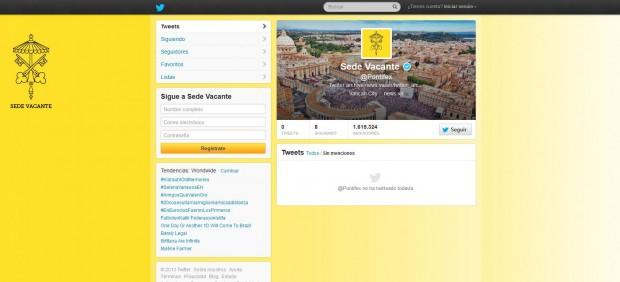 La cuenta del papa Benedicto XVI en Twitter pasa a identificarse como 'Sede Vacante'