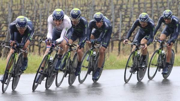 El equipo Movistar, en la Tirreno-Adriático 2013