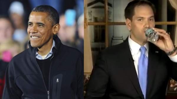 Obama bromea sobre el senador Marco Rubio