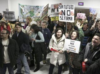 Protesta de trabajadores de Iberia