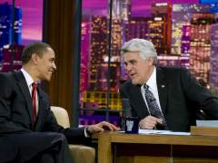 Jay Leno (izda), con Barack Obama en 'The Tonight Show'.