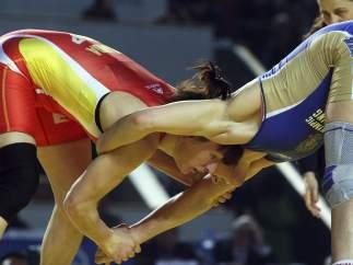 Maider Unda, en su final del Europeo de Lucha 2013