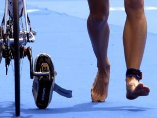Transición de la natación al ciclismo en un triatlón