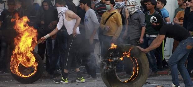 Manifestantes palestinos en Hebrón