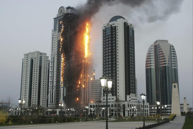 Incendio en la ciudad de Grozni
