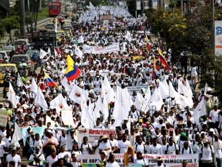 Marcha por la paz en Colombia
