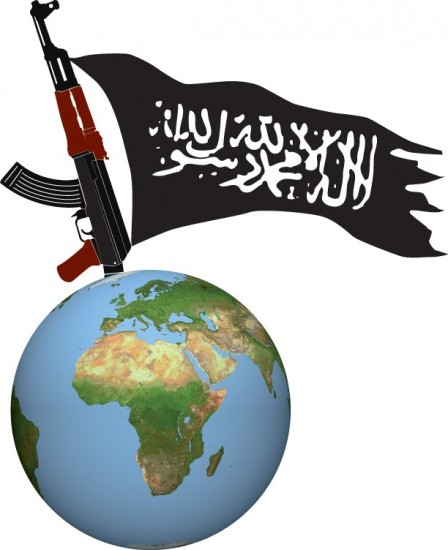 'Al-quaeda in the Islamic Magreb'. El logo de Al-Quaeda del Magreb Islámico, que simboliza el objetivo de establecer un califato islámico en el mundo