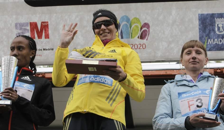 Maratón de Madrid. Podio de la categoría femenina del maratón de Madrid.