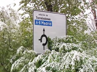 Sorprendente nevada en Madrid