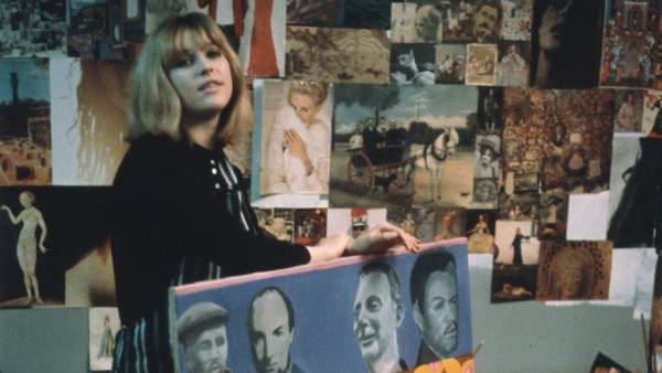 Pauline Boty with her painting Scandal '63 by Michael Ward, 1964