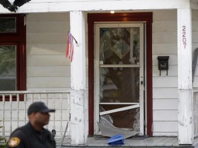 Puerta de la casa donde fueron retenidas